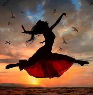 flying dance woman